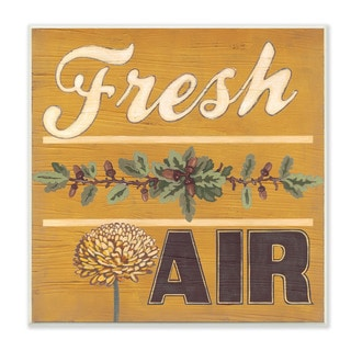 Distressed 'Fresh Air Yellow With Pine Cones' Wall Plaque Art