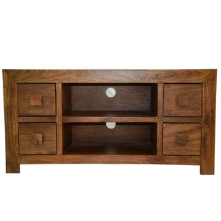 Solid Mango Wide Screen TV 4-drawer Cabinet with Two Inset Slots