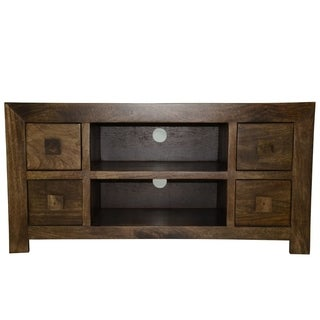 Solid Mango Wood Widescreen TV Cabinet with Four Drawers