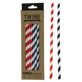 Twine Rustic Elegance 3086 Blue & Red Striped Straws 20-count