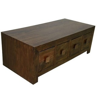 Solid Dark Stain Mango Wood 8-drawer Coffee Table