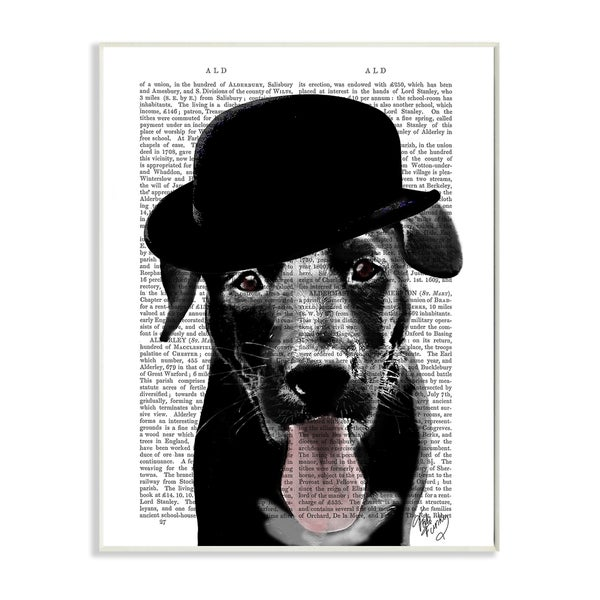 'Black Labrador in Bowler Hat With Book Page Background' Wall Plaque Art