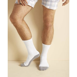 Gildan Men's Platinum White One-size-fits-most Crew Socks