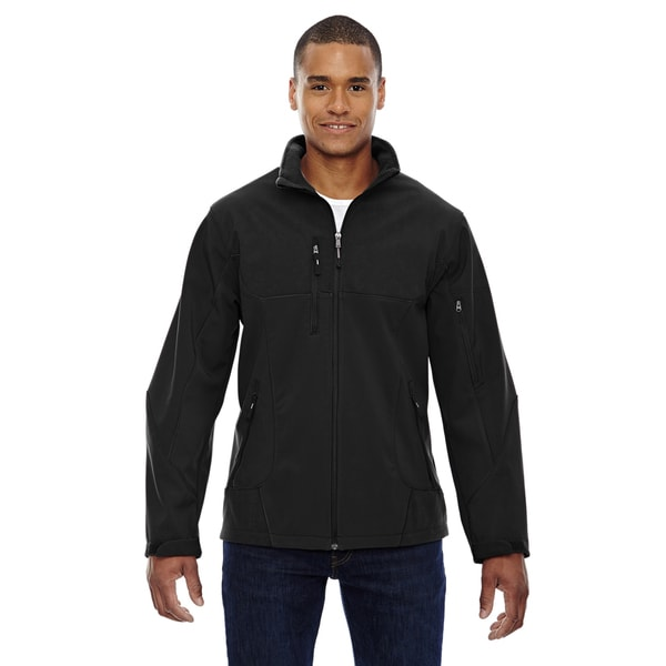 Compass Colorblock Three-Layer Fleece Bonded Soft Shell Mens Black 703 Jacket