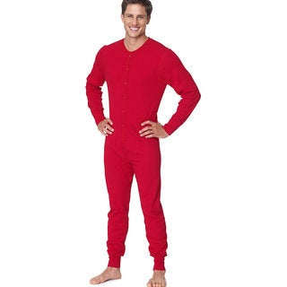 X-Temp Men's Red Thermal Union Suit
