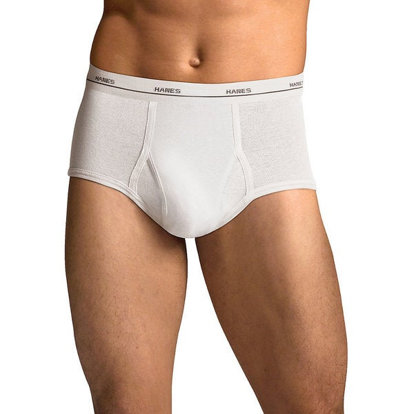 Tagless Men's No Ride Up 3X-5X White Briefs with Comfort Flex Waistband (Pack of 5)