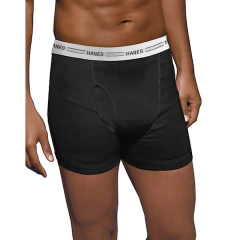 Tagless Men's Boxer 3X-5X Black/Grey Boxer Briefs with Comfort Flex Waistband (Pack of 4)