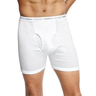 Tagless Men's Boxer White Boxer Briefs with Comfort Flex Waistband (Pack of 4)
