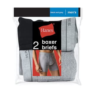 Red Label Men's Boxer Brief Black/Grey Boxer Brief (Pack of 2)|https://ak1.ostkcdn.com/images/products/12556645/P19357159.jpg?impolicy=medium