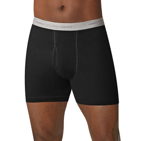 Men's Assorted Black/Grey Cotton Comfort Flex Waistband Boxer Briefs (Pack of 5)