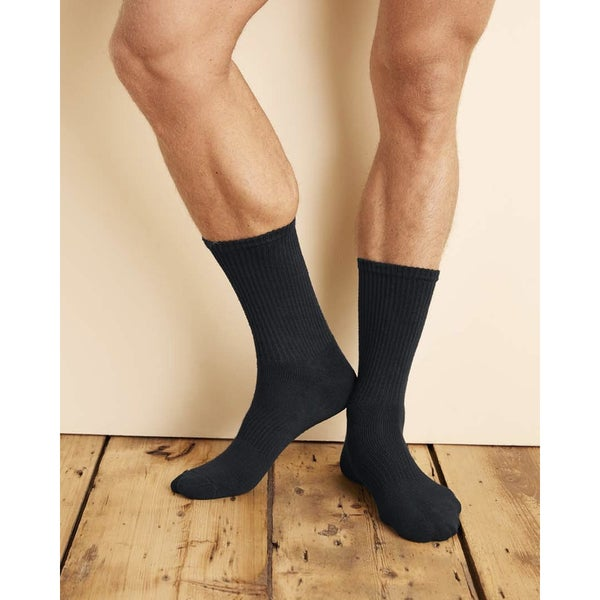 Gildan Men's Platinum Black Crew Socks (Pack of 6)