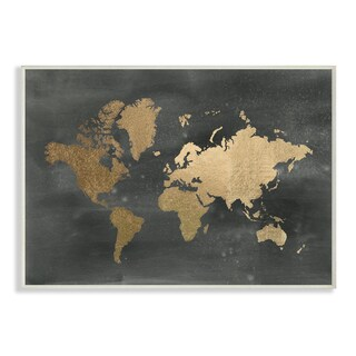 Stupell Black and Gold World Map Wall Plaque Art