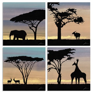 Stupell 'African Safari Sky with Animal Silhouettes' Wall Plaque Art Set