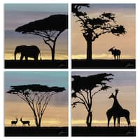 Stupell 'African Safari Sky with Animal Silhouettes' Wall Plaque Art Set - 12 x 12