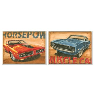 Red and Blue Vintage Muscle Cars 2-piece Wall Plaque Art Set