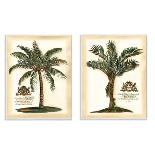 'British Colonial Palms' Lithographic Wall Plaque Art (Set of 2)