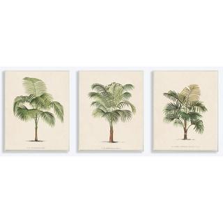 'Les Palmiers' Botanical Trio Lithograph Wall Plaque Art (Set of 3)