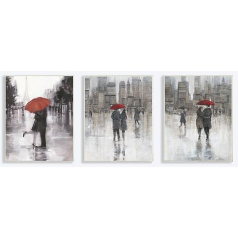 Stupell Rain in The City Couple w/ Red Umbrella Trio Wall Plq. Art Set - 10 x 15
