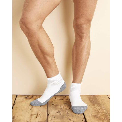 Gildan Platinum Men's White One-size-fits-most Ankle Socks (Pack of 6)