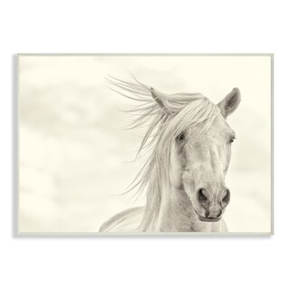 Stupell 'White Horse Running in the Wind' Wall Plaque Art on Wood - 10 x 15