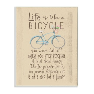 Stupell 'Life Is Like a Bicycle' Icon Inspirational Typography Wall Plaque Art