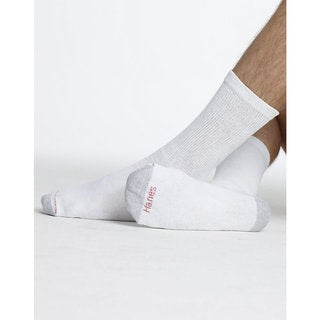 Hanes Men's White Size 10-13 Crew Socks (Pack of 12)