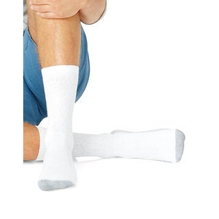 Hanes Men's Big and Tall White Cotton/Polyester/Nylon Size 12-14 Cushion Crew Socks (Pack of 6)