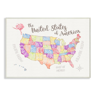 Stupell United States U.S. Map Watercolor Wall Plaque Art