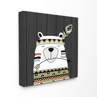 'Tribal Boho Bear' Stretched Canvas Wall Art