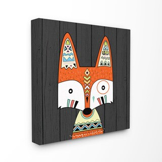 Stupell Tribal Boho Fox Stretched Canvas Wall Art