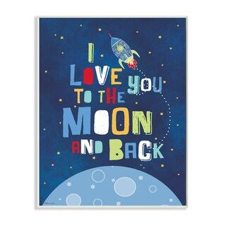 'I Love You Moon and Back' Multicolored MDF Rocket Ship Wall Plaque Art