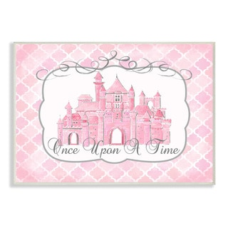 Once Upon a Time Pink Water Color Castle Plaque Wall Art