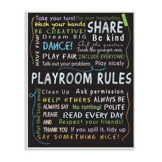 Playroom Rules Multi-color Chalk Plaque Wall Art