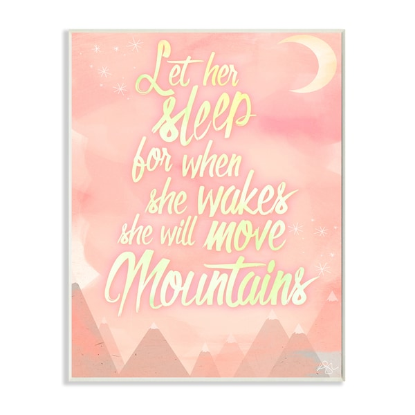 'Let Her Sleep Mountains' Pink Watercolor Lithograph Wall Plaque Art - 10 x 15