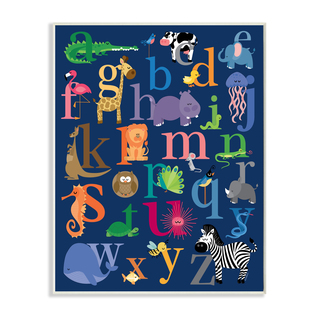 Stupell 'Alphabet Animal Icons' Navy Background Wall Plaque Art