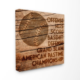 Baseball Planked Wood Look Stretched Canvas Wall Art - 17 x 17