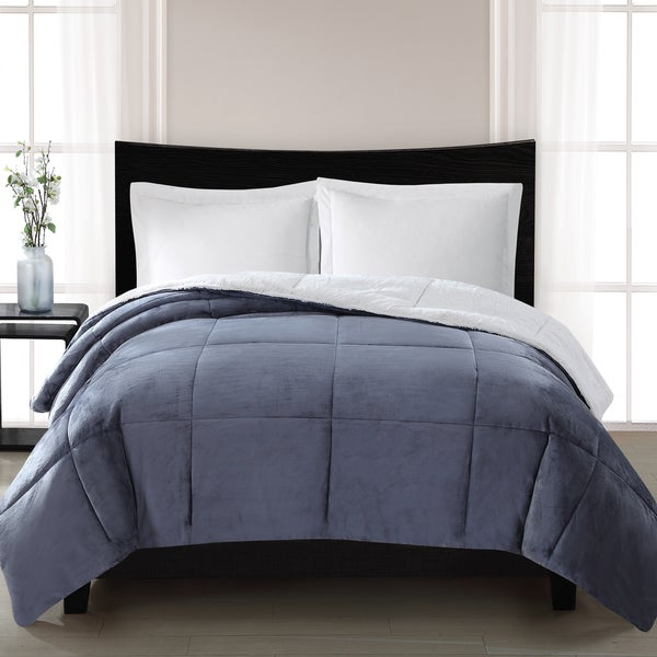 London Fog Supreme Luster Velvet Reversing to Faux Fur Comforter
