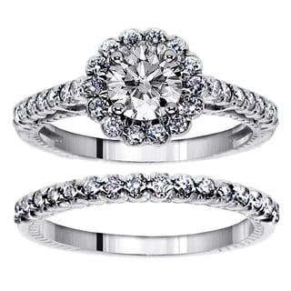 18k or 14k Gold 1 3/4ct TDW Halo Diamond Engagement Bridal Ring-set (G-H, SI1-SI2)