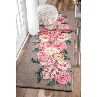 nuLOOM Handmade Contemporary Floral Brown Runner Rug (2'6 x 8')