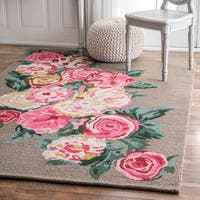 nuLOOM Handmade Contemporary Floral Brown Rug - 3' x 5'