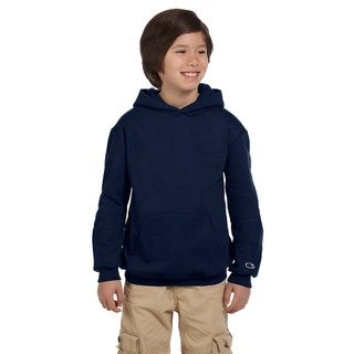 Youth Navy Cotton Fleece Double Dry Action Pullover Hoodie