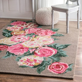 nuLOOM Handmade Contemporary Floral Brown Rug (7'6 x 9'6)