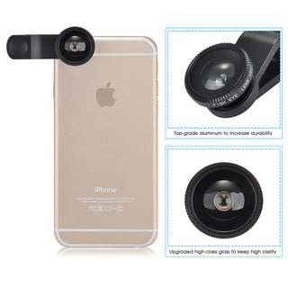 Clip-on 180-degree Supreme Fisheye + Micro 3-in-1 Easy-use Camera Lens Kit for iPhone and Other Smartphones