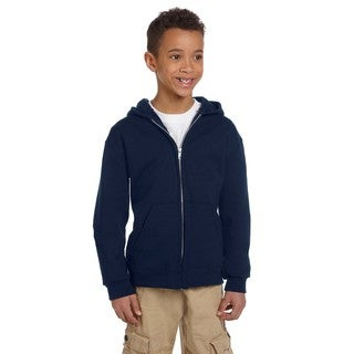 Champion Boys' Navy Blue Cotton Fleece Double Dry Action Full-zip Hoodie