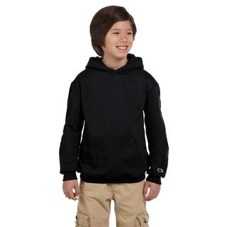 Champion Boys' Black Cotton Fleece Double Dry Action Pullover Hoodie