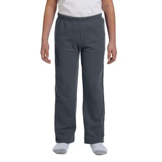 Boy's Charcoal Grey Polyester Heavy-blend Open-bottom Sweatpants