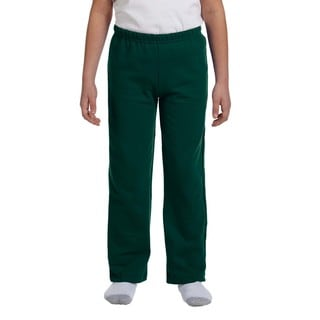 Youth Forest Green Heavy Blend Open-bottom Sweatpants