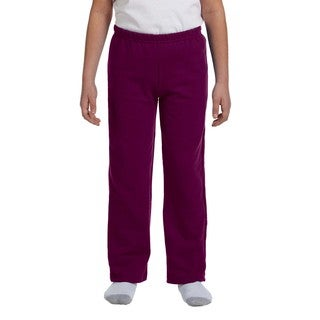 Heavy Blend Youth Maroon Polyester Open-Bottom Sweatpants