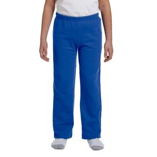 Youth's Royal Blue Heavy-blend Polyester Open-bottom Sweatpants