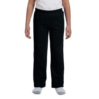 Heavy Blend Youth Black Polyester Open-bottom Sweatpants